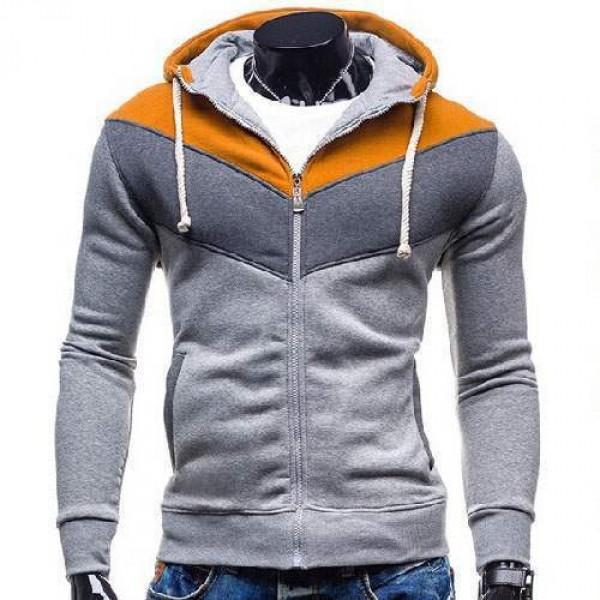 gilet veste hoodie sport fitted capuche zippe chevron tricolore gris clair camel. Black Bedroom Furniture Sets. Home Design Ideas