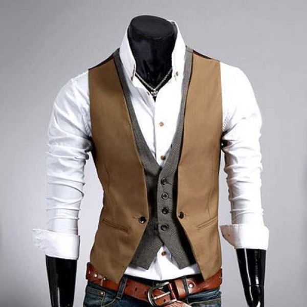 photos officielles 06a3c e608b Gilet Veston Costume homme habille Fashion double effet Smart Marron