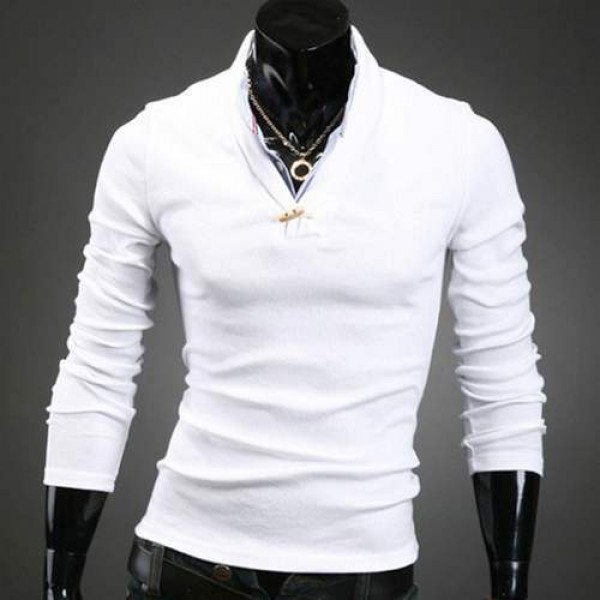Polo Homme manches longues Classy style Elegant col chemise Men fashion Blanc