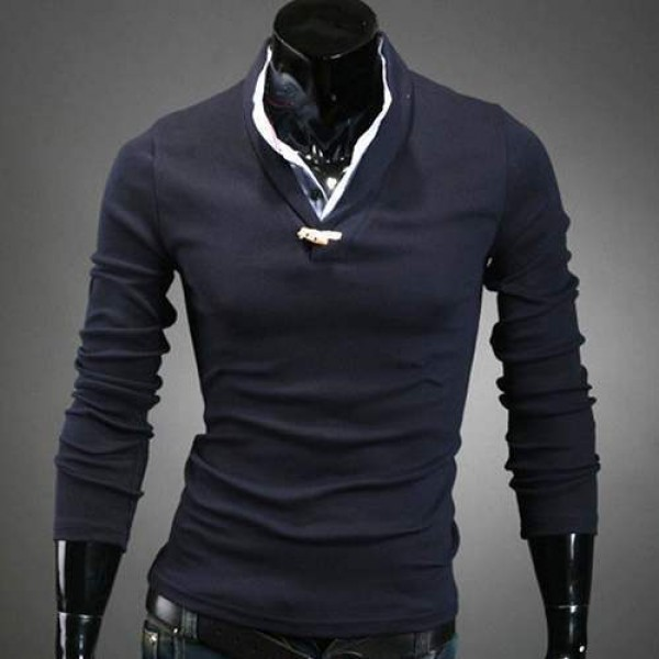 Polo Homme manches longues Classy style Elegant col chemise Men fashion Bleu