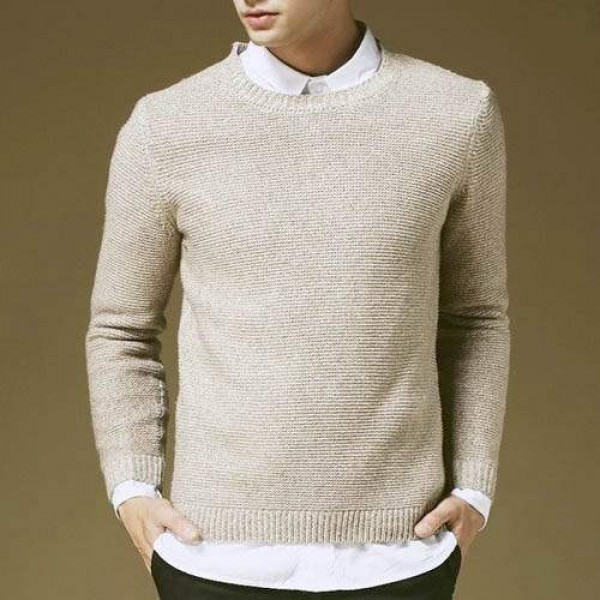 Pull Sweat Homme classique Elegant Col rond Maille Confort Hiver Beige