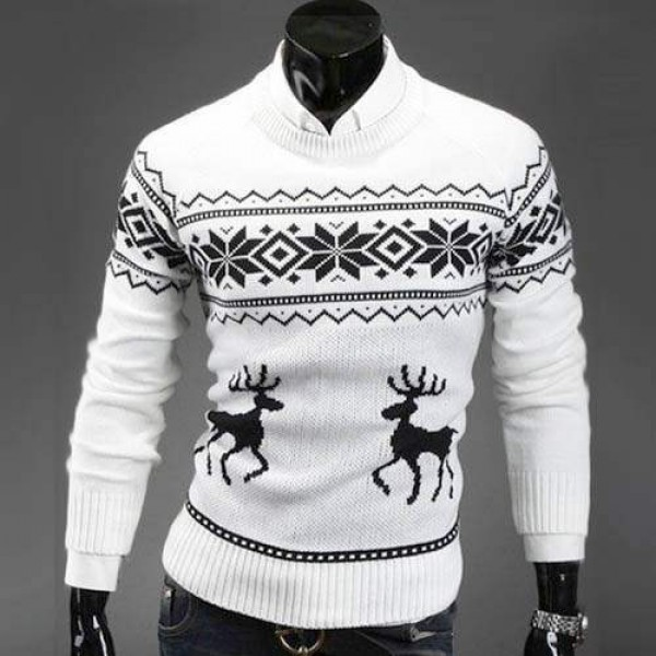Pull Homme Fashion Col rond Fitted Hiver Noel Blanc