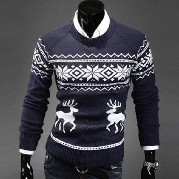 Pull Homme Fashion Col rond Fitted Hiver Noel Marine