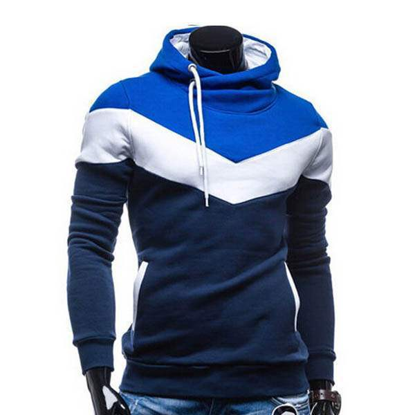 Sweat a capuche Hoodie Homme Fashion Sportwear Fitted Chevron Sport Bleu