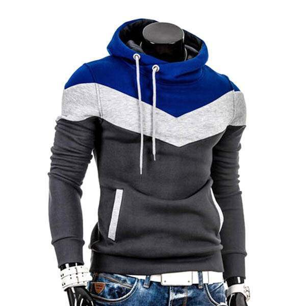Sweat a capuche Hoodie Homme Fashion Sportwear Fitted Chevron Sport Gris Bleu