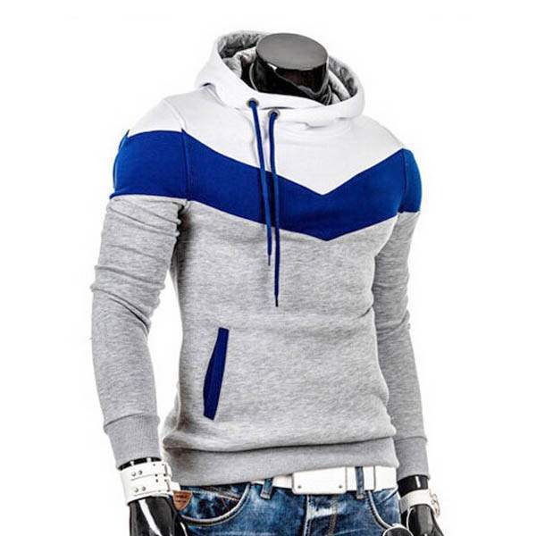 Sweat a capuche Hoodie Homme Fashion Sportwear Fitted Chevron Sport Gris clair Blanc