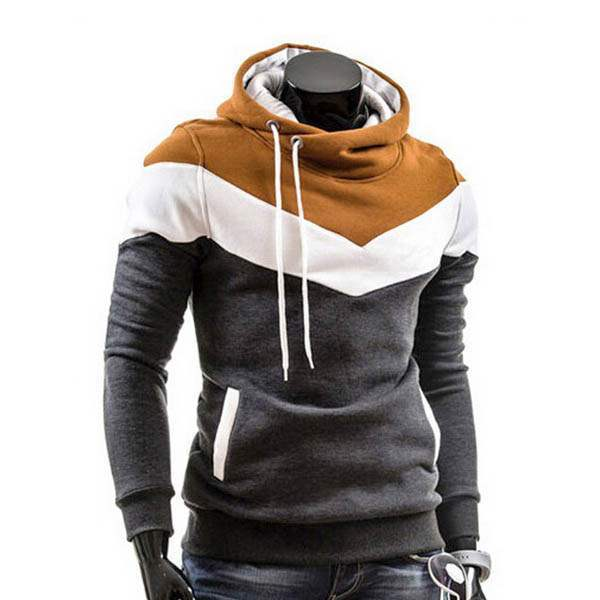 Sweat a capuche Hoodie Homme Fashion Sportwear Fitted Chevron Sport Gris fonce Camel
