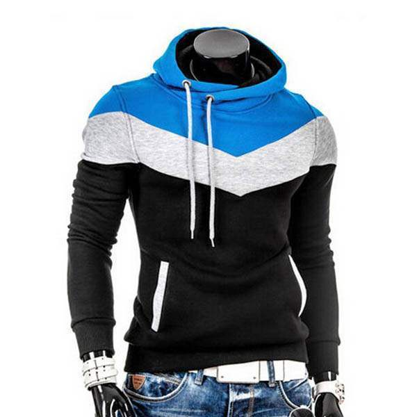 Sweat a capuche Hoodie Homme Fashion Sportwear Fitted Chevron Sport Noir Bleu turquoise