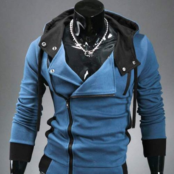 Sweat a capuche Hoodie Men Fashion Gilet sweater Outwear Bleu
