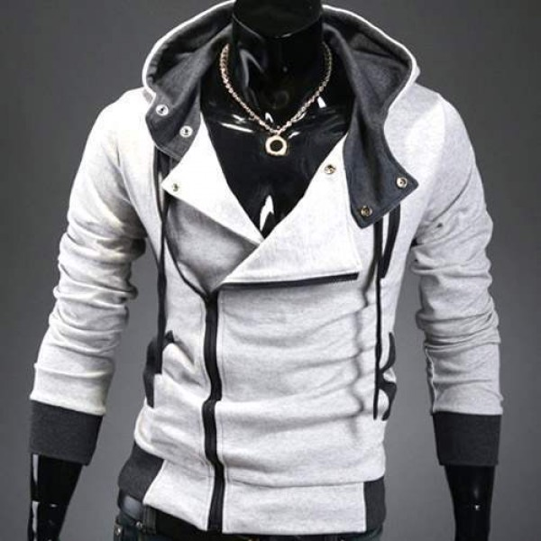 Sweat a capuche Hoodie Men Fashion Gilet sweater Outwear Gris clair