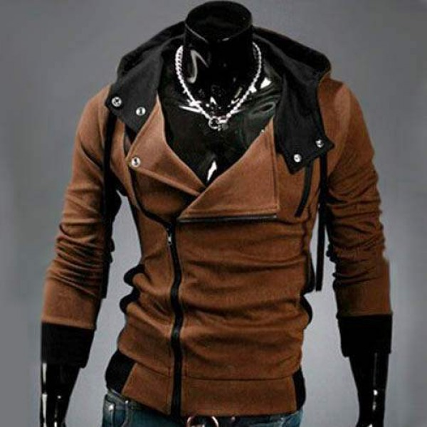 Sweat a capuche Hoodie Men Fashion Gilet sweater Outwear Marron
