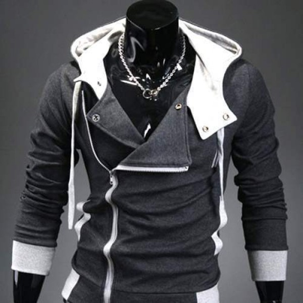 Sweat a capuche Hoodie Men Fashion Gilet sweater Outwear Gris foncé