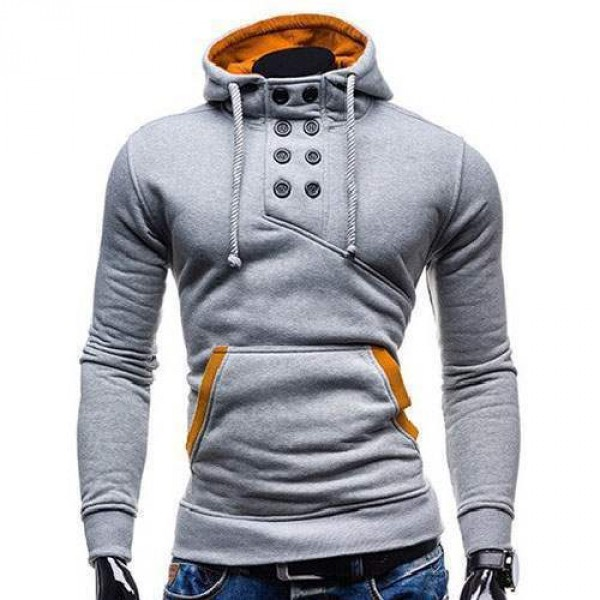 Sweat Hoodie a Capuche Boutons Sportswear Outwear Style Men Homme Fashion Gris Clair