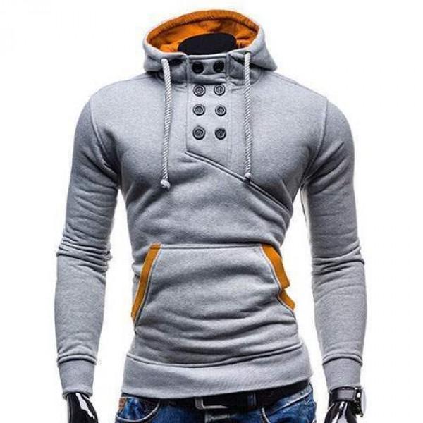 emballage élégant et robuste très convoité gamme de sélectionner pour plus récent Sweat Hoodie a Capuche Boutons Sportswear Outwear Style Men Homme Fashion  Gris Clair
