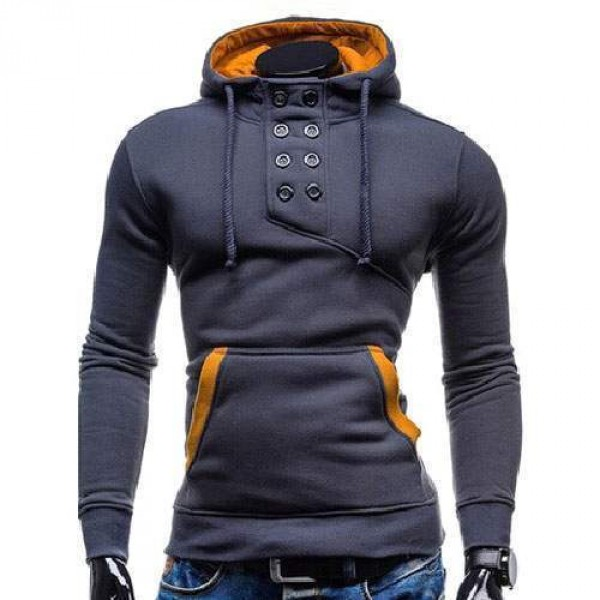 Sweat Hoodie a Capuche Boutons Sportswear Outwear Style Men Homme Fashion Gris Fonce