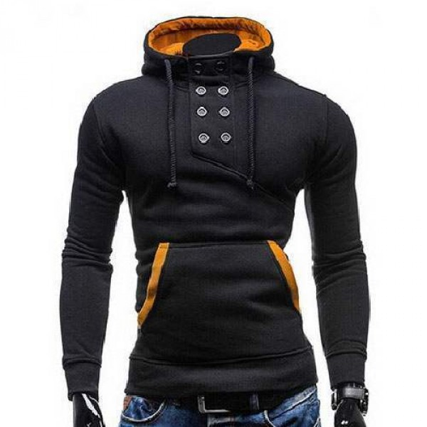 sweat hoodie a capuche boutons sportswear outwear style men homme fashion noir. Black Bedroom Furniture Sets. Home Design Ideas