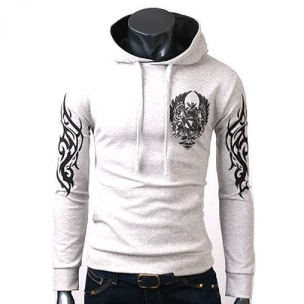 sweat capuche hoodie sweater men fashion manches longues printed sweater gris clair. Black Bedroom Furniture Sets. Home Design Ideas