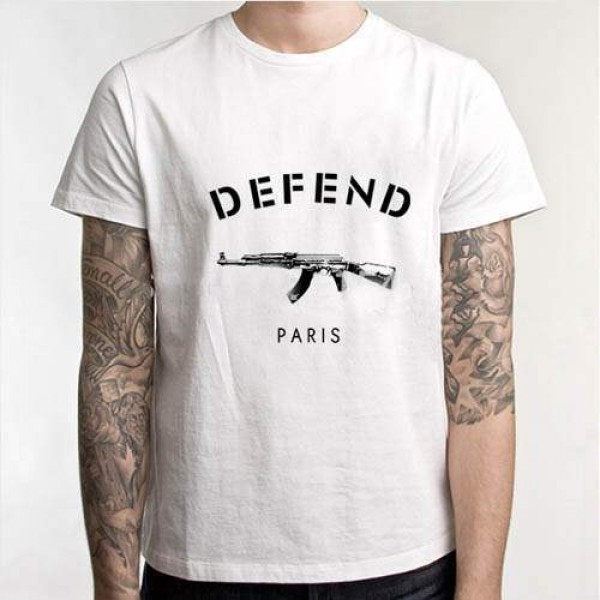 T-shirt Homme AK47 Hip-hop manches courtes Men Fashion Swag Blanc