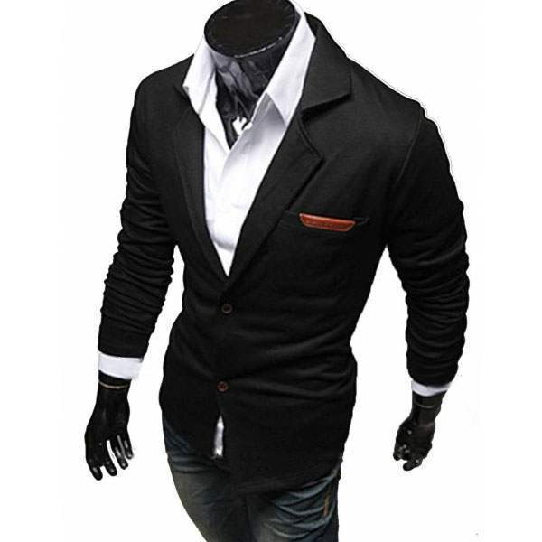 Veste Croisee Homme Blazer Costume Taille ajustee Fitted Men Outfit Noir