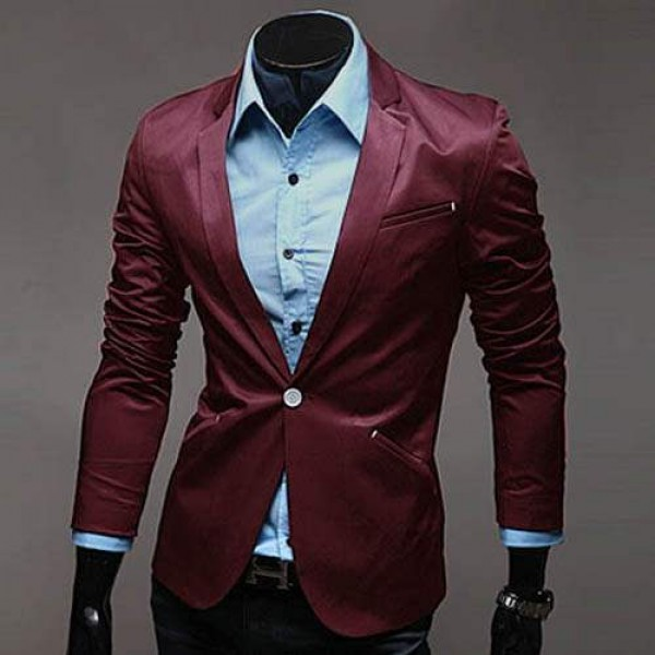veste homme blazer costume taille ajustee fitted satine elegance fashion rouge