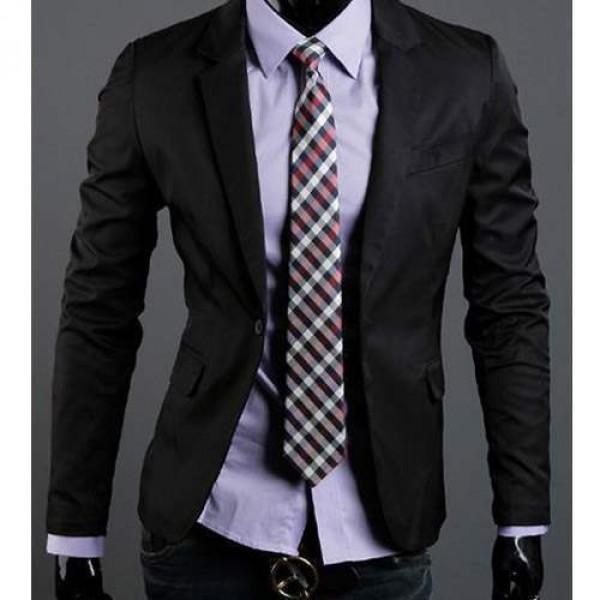 veste homme fashion formal slim fit blazer chic jacket noire. Black Bedroom Furniture Sets. Home Design Ideas