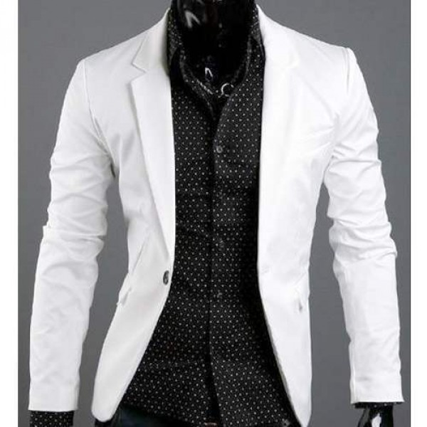 veste homme fashion formal slim fit blazer chic jacket blanche. Black Bedroom Furniture Sets. Home Design Ideas