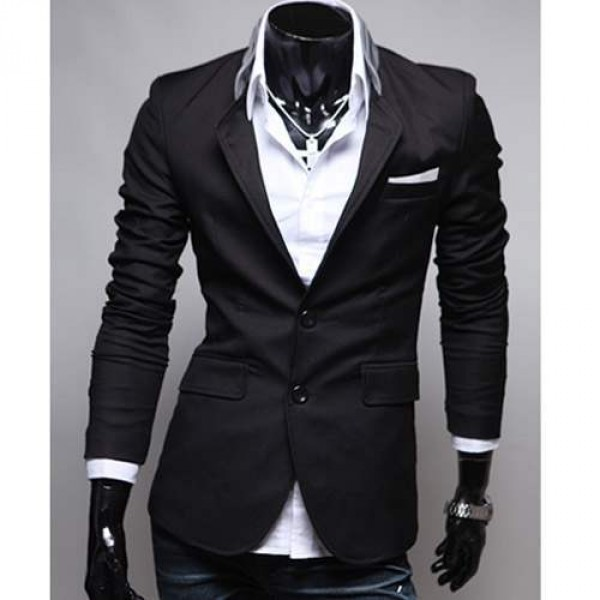 Veste Homme Fashion jacket Men Suit slim fit Noir