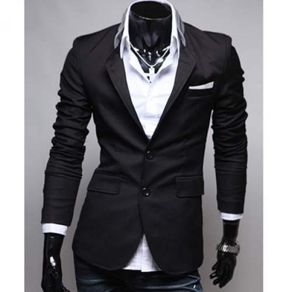 veste homme fashion jacket men suit slim fit noir. Black Bedroom Furniture Sets. Home Design Ideas
