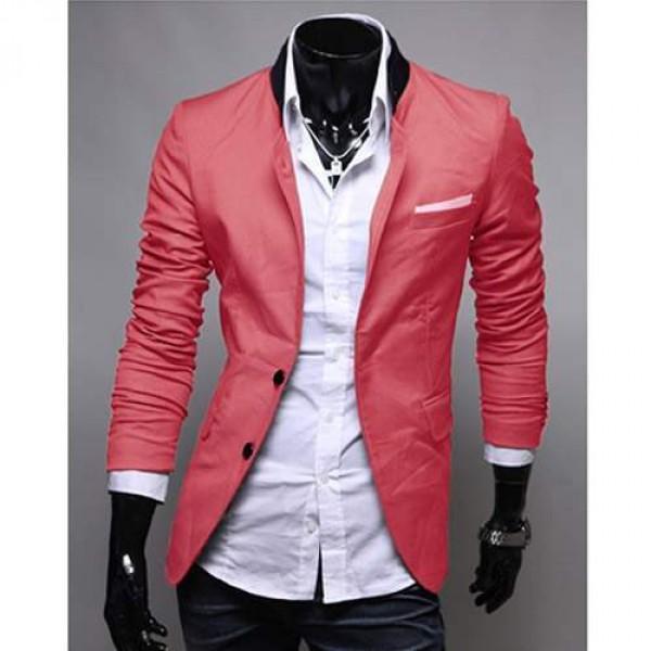 veste homme fashion jacket men suit slim fit rouge clair. Black Bedroom Furniture Sets. Home Design Ideas