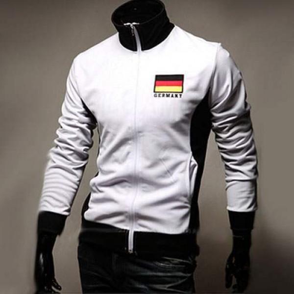 veste jogging homme fashion casual coupe du monde jacket sport allemagne blanc. Black Bedroom Furniture Sets. Home Design Ideas