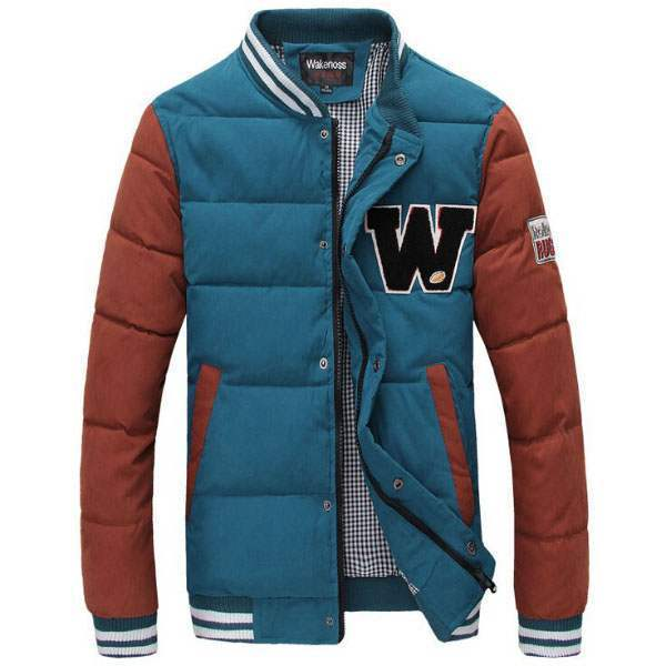 Blouson Veste University Outdoor Fashion Chaud Bleu