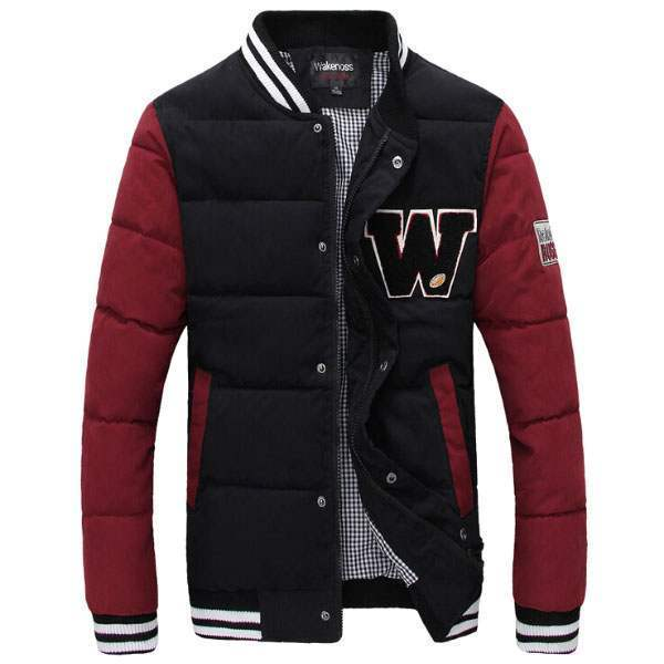 Blouson Veste University Outdoor Fashion Chaud Noir