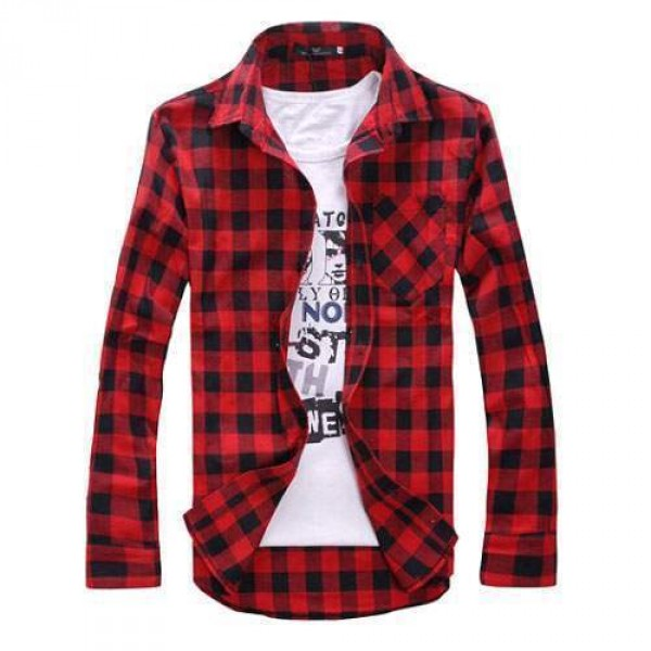 Chemise Carreaux Rouge Noir Grunge Scottish Plaid Fashion Outfit