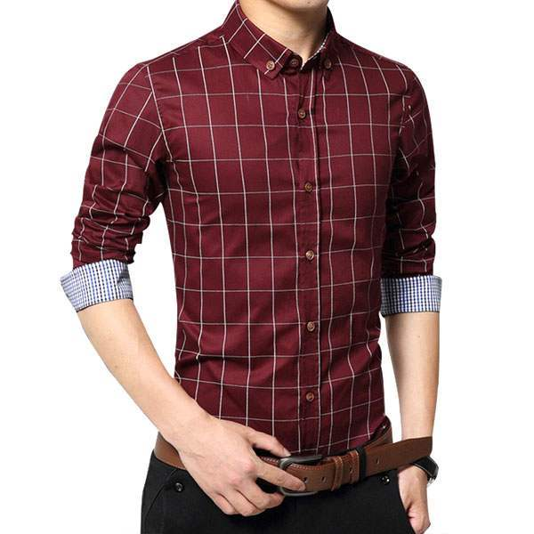 Chemise Homme Elegance Classique Fitted Carreaux rouge
