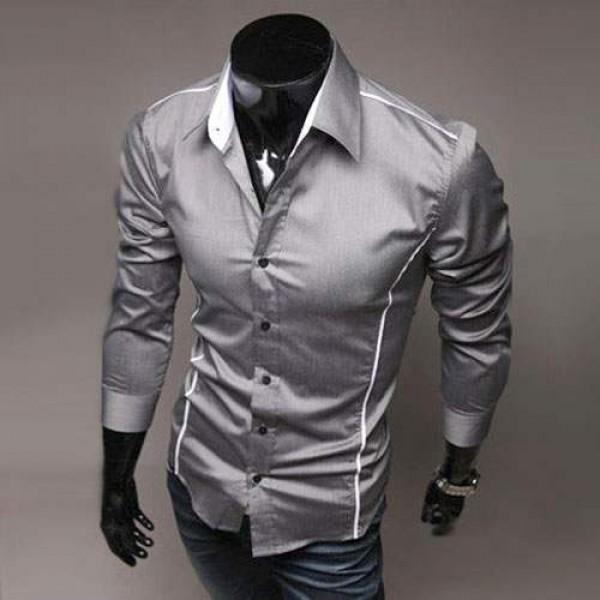 chemise homme elegance fashion classique slim fit gris. Black Bedroom Furniture Sets. Home Design Ideas