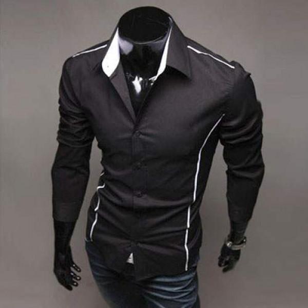 Chemise homme elegance fashion classique slim fit noir - Costume noir chemise noir ...