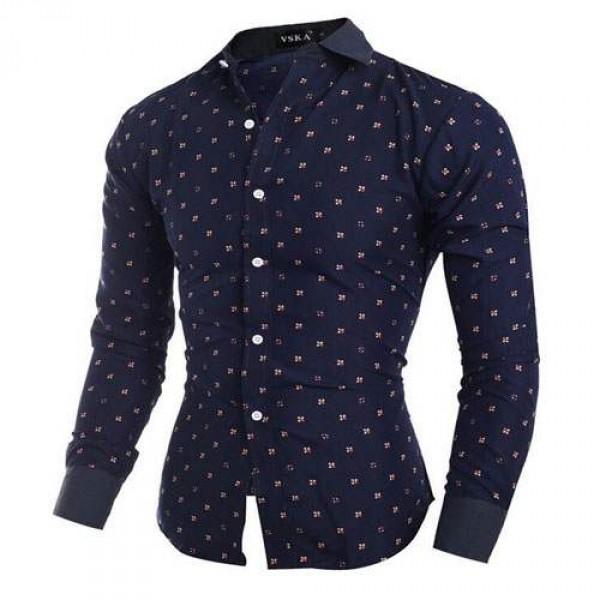 chemise homme elegance fashion imprime slim fit bleu fonce. Black Bedroom Furniture Sets. Home Design Ideas