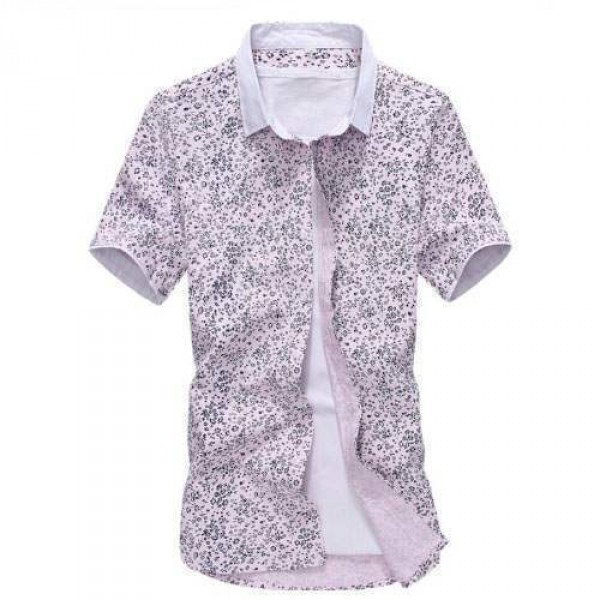 Chemise Manches Courtes Imprime Floral Rose clair Trendy Fashion Summer Outfit
