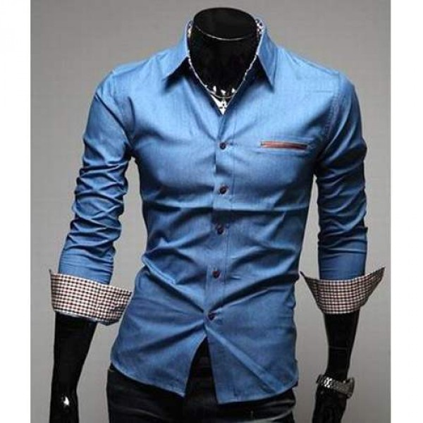 Chemise Homme Fashion Denim style design Slim fit classe Jean bleu clair