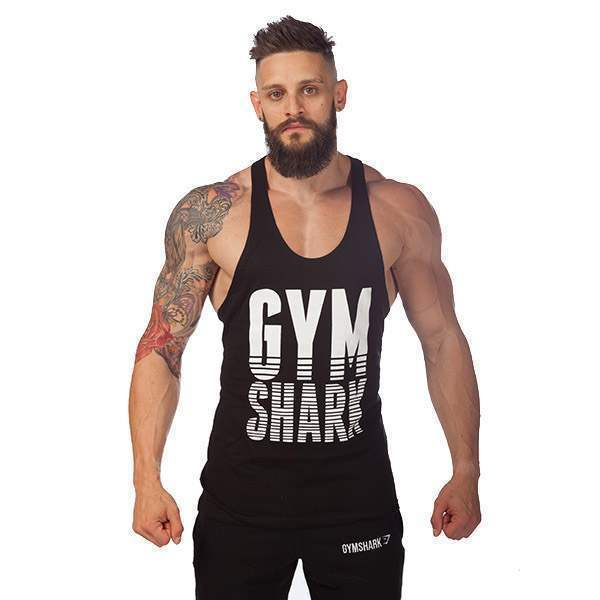 T-shirt Debardeur Coton Musculation Fitness Sport Homme Gym Training Workout Noir Blanc