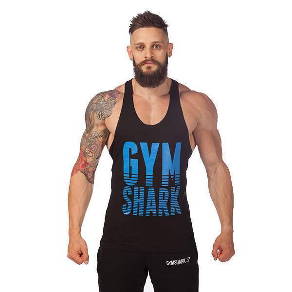 T-shirt Debardeur Coton Musculation Fitness Sport Homme Gym Training Workout Noir Bleu