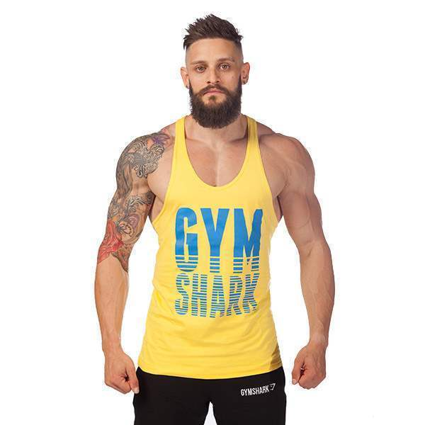 T-shirt Debardeur Coton Musculation Fitness Sport Homme Gym Training Workout Jaune