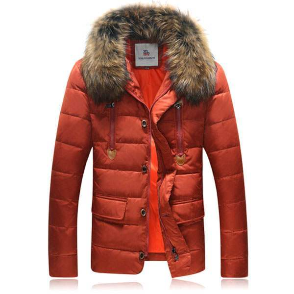 doudoune homme parka sport luxe col fourrure amovible rouge. Black Bedroom Furniture Sets. Home Design Ideas