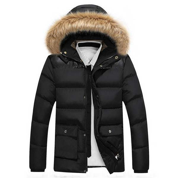 doudoune homme parka capuche fourrure outwear hiver noir. Black Bedroom Furniture Sets. Home Design Ideas