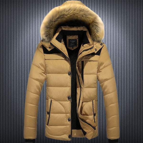 Doudoune Homme Parka capuche fourrure Sport Winter Mountain Fashion Beige