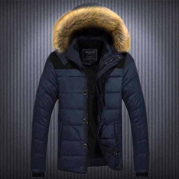 doudoune homme parka capuche fourrure sport winter mountain fashion bleu. Black Bedroom Furniture Sets. Home Design Ideas