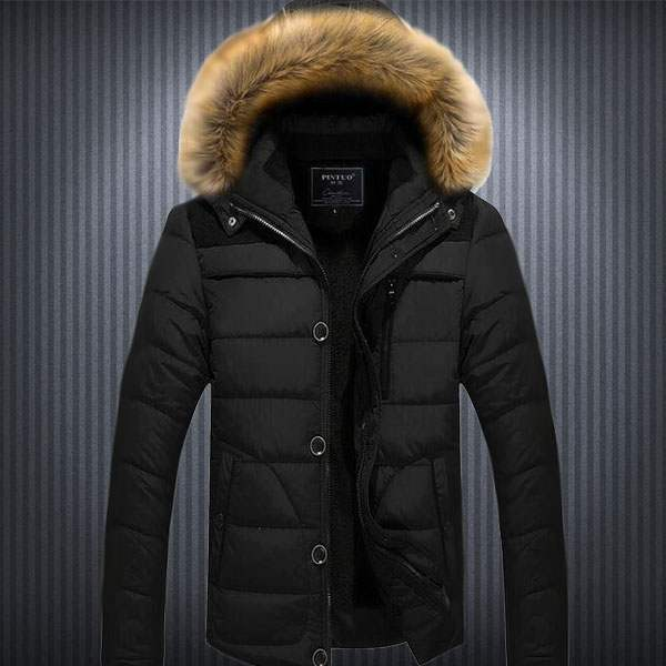 Doudoune Homme Parka capuche fourrure Sport Winter Mountain Fashion Noir