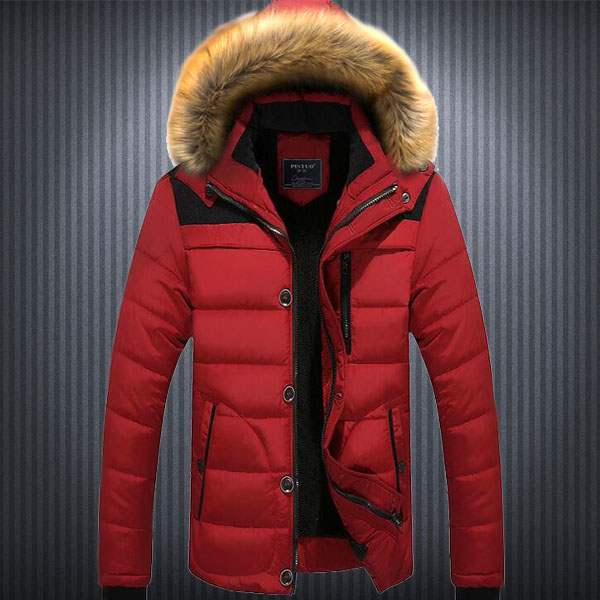 Doudoune Homme Parka capuche fourrure Sport Winter Mountain Fashion Rouge