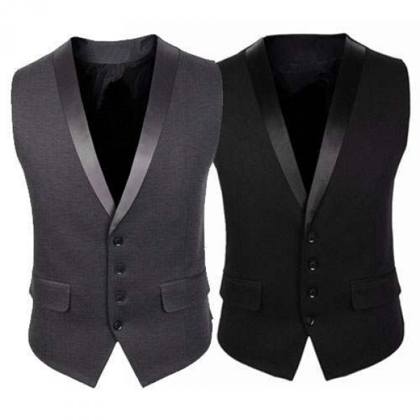 Gilet Veston Costume Homme Elegant Ceremonie Noir Gris Suit Affair
