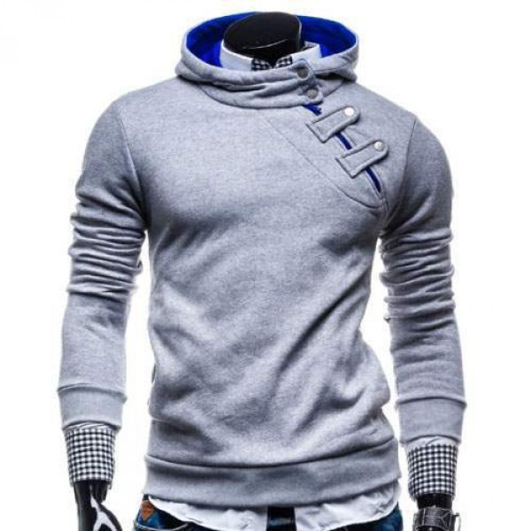 Hoodie Fashion Sweat Pull capuche Homme trendy 2016 Gris clair